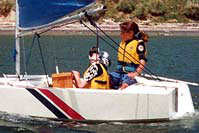 Girls learning sailing